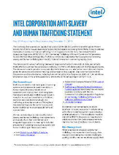 Intel Statement on Slavery and Human Trafficking