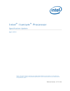 Intel® Itanium® Processor: Specification Update